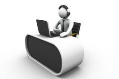 hombre 3D que trabaja en un centro de atención telefónica Imagen de archivo libre de regalías