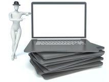 hombre 3d y computadora portátil libre illustration