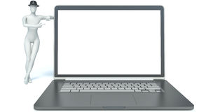 hombre 3d y computadora portátil ilustración del vector