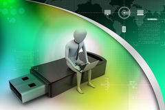 hombre 3d y ordenador portátil que sientan el usb Imágenes de archivo libres de regalías