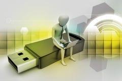 hombre 3d y ordenador portátil que sientan el usb Imagen de archivo