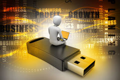 hombre 3d y ordenador portátil que sientan el usb Imagenes de archivo