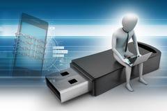 hombre 3d y ordenador portátil que sientan el usb Fotos de archivo libres de regalías