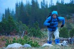 Hombre de Advanture con caminar de la mochila Fotografía de archivo