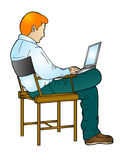Hombre de Bussiness que abre su computadora portátil Imágenes de archivo libres de regalías