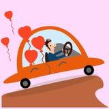 Hombre de conducción feliz con los globos de la tarjeta del día de San Valentín Foto de archivo libre de regalías