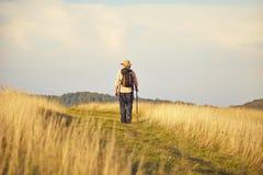 Hombre de detrás caminar en prado Fotos de archivo