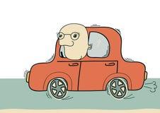 Hombre de Driver.Vector que conduce en coche aislado en blanco ilustración del vector