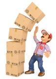 hombre de entrega 3D con una pila de cajas que caen en el top Accide del trabajo Imagenes de archivo