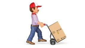 hombre de entrega de la cantidad de la animación 3D que empuja un camión de mano con las cajas con el foto-jpg blanco del fondo ilustración del vector