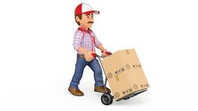 hombre de entrega de la cantidad de la animación 3D que empuja un camión de mano con las cajas con el foto-jpg blanco del fondo metrajes
