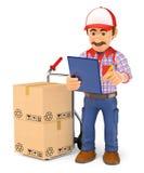 hombre de entrega del mensajero 3D que comprueba los paquetes para entregar Foto de archivo