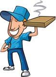 Hombre de entrega estilizado de la pizza de la historieta Fotos de archivo