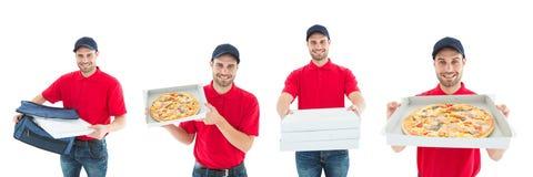 Hombre de entrega que lleva a cabo el collage de la pizza imagen de archivo