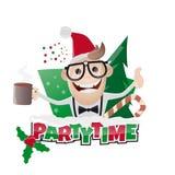 Hombre de fiesta de Navidad divertido stock de ilustración
