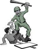 Hombre de golpe del soldado del abuso de la autoridad ilustración del vector