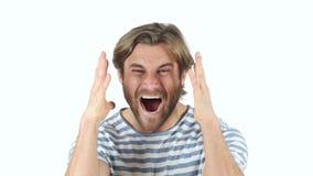Hombre de griterío que va loco almacen de metraje de vídeo
