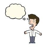 hombre de griterío de la historieta con la burbuja del pensamiento Imágenes de archivo libres de regalías