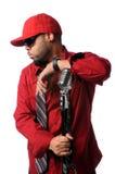Hombre de Hip Hop con el micrófono de la vendimia foto de archivo libre de regalías