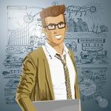Hombre de Hipstar del vector con el ordenador portátil en sus manos stock de ilustración