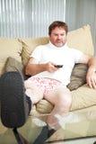 Hombre de Injurecd en casa Foto de archivo