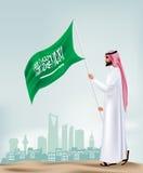 Hombre de la Arabia Saudita que sostiene la bandera en la ciudad stock de ilustración