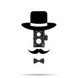 Hombre de la cámara del inconformista, sombrero, Bowtie, bigote Ilustración del vector Imagenes de archivo