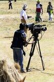 Hombre de la cámara que filma a Inti Raymi Event Cusco Peru Foto de archivo