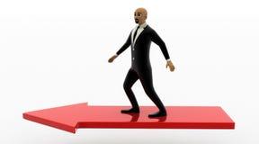 hombre de la cabeza calva 3d que corre en flecha roja Imágenes de archivo libres de regalías