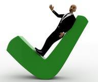 hombre de la cabeza calva 3d que miente en marca verde de la señal Fotos de archivo libres de regalías