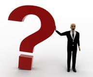 hombre de la cabeza calva 3d que se coloca con el signo de interrogación rojo Fotografía de archivo libre de regalías