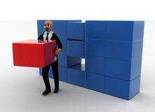 hombre de la cabeza calva 3d que toma la caja roja del almacenamiento Imagen de archivo libre de regalías
