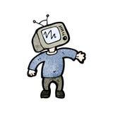 hombre de la cabeza de la historieta TV Foto de archivo