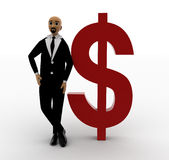 hombre de la cabeza del blad 3d que se coloca con símbolo rojo del dólar Fotografía de archivo libre de regalías