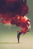 Hombre de la careta antigás que se coloca con la llama y el humo del fuego en el suyo detrás ilustración del vector
