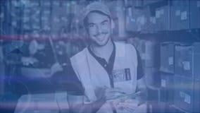 Hombre de la composición de Warehouse en el almacén combinado con la animación de cosas conectadas almacen de video
