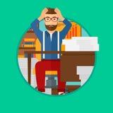 Hombre de la desesperación que se sienta en oficina stock de ilustración