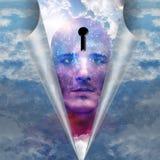 Hombre de la estrella con la cabeza del ojo de la cerradura Imagen de archivo