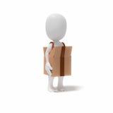 hombre de la gente 3d en caja del cartón Fotos de archivo