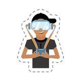hombre de la historieta con control de las gafas del vr Foto de archivo libre de regalías