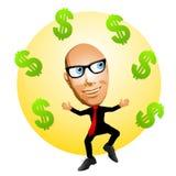 Hombre de la historieta con las muestras de dólar