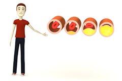 Hombre de la historieta con las venas con colesterol Foto de archivo libre de regalías