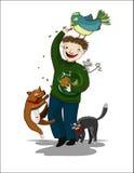 Hombre de la historieta con los animales Imágenes de archivo libres de regalías