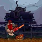 Hombre de la historieta con una motosierra y una calabaza de Halloween al lado de la casa libre illustration