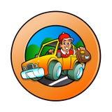 Hombre de la historieta en coche de entrega Foto de archivo libre de regalías