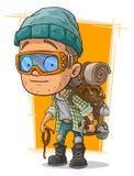 Hombre de la historieta en lentes con la mochila stock de ilustración