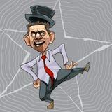 Hombre de la historieta en un baile del lazo y del sombrero ilustración del vector