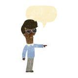 hombre de la historieta en vidrios que señala con la burbuja del discurso Imagen de archivo libre de regalías