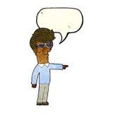 hombre de la historieta en vidrios que señala con la burbuja del discurso Foto de archivo libre de regalías