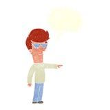 hombre de la historieta en vidrios que señala con la burbuja del discurso Fotografía de archivo